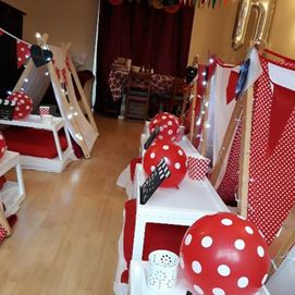 Red and Cream Polka Dot Tent